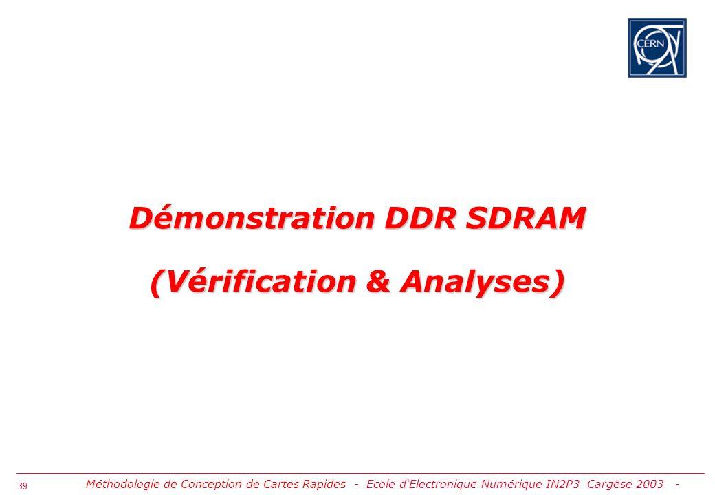 Démonstration DDR SDRAM (Vérification & Analyses)