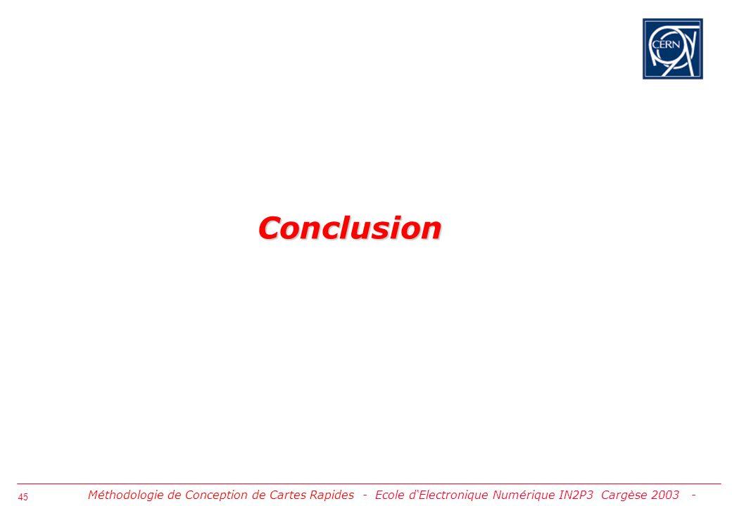 Conclusion Méthodologie de Conception de Cartes Rapides - Ecole d'Electronique Numérique IN2P3 Cargèse 2003 -