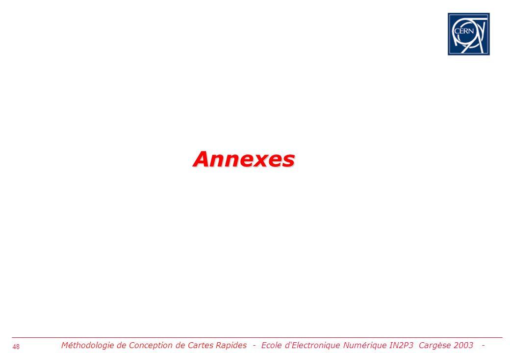 Annexes Méthodologie de Conception de Cartes Rapides - Ecole d'Electronique Numérique IN2P3 Cargèse 2003 -