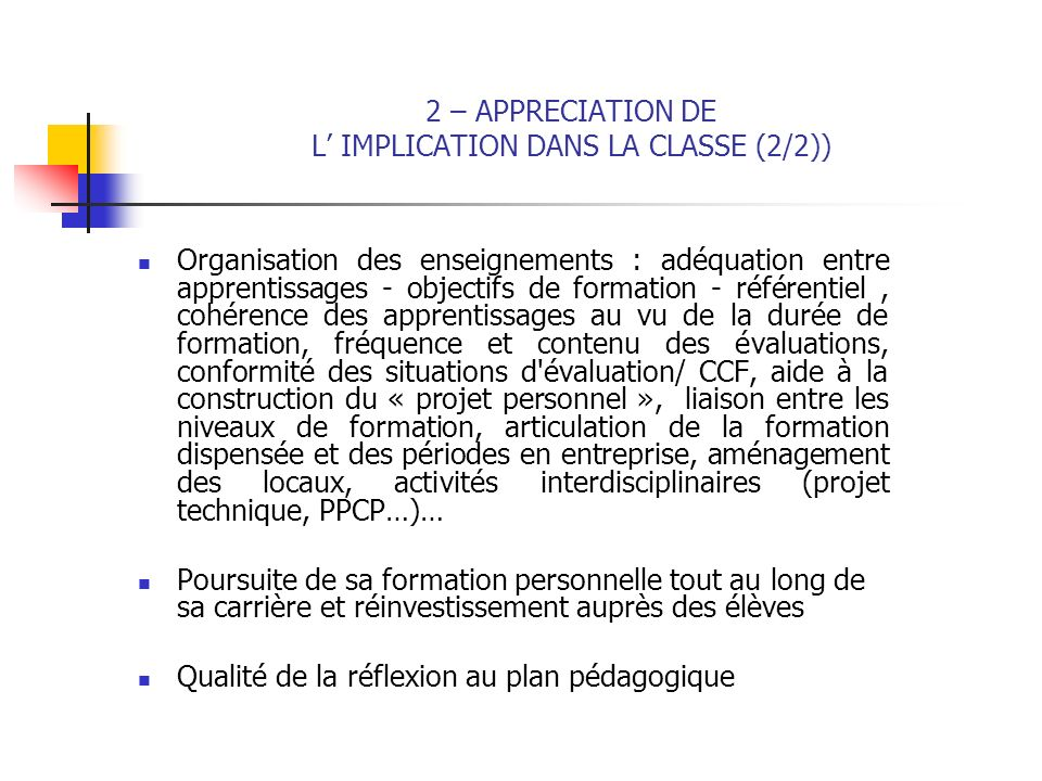 2 – APPRECIATION DE L' IMPLICATION DANS LA CLASSE (2/2))