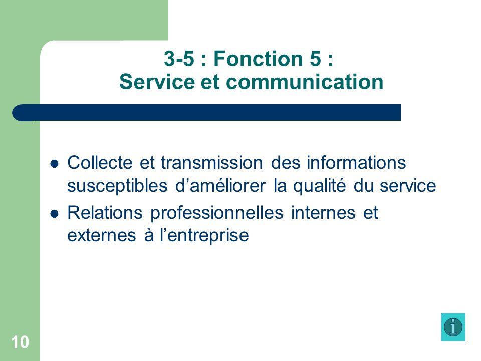 3-5 : Fonction 5 : Service et communication