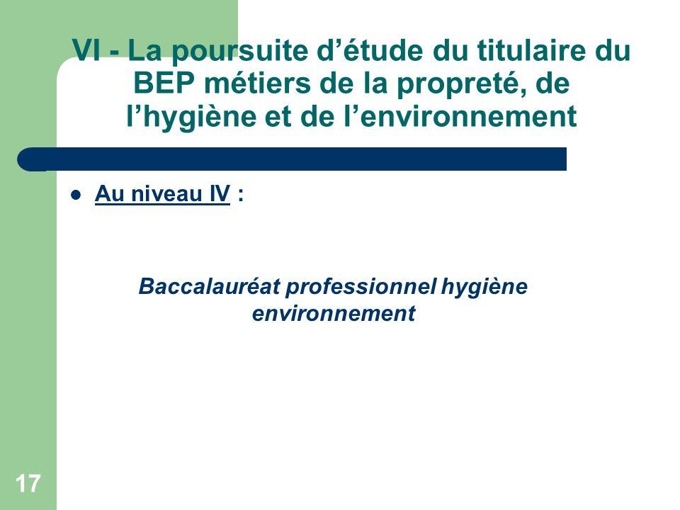 Baccalauréat professionnel hygiène environnement