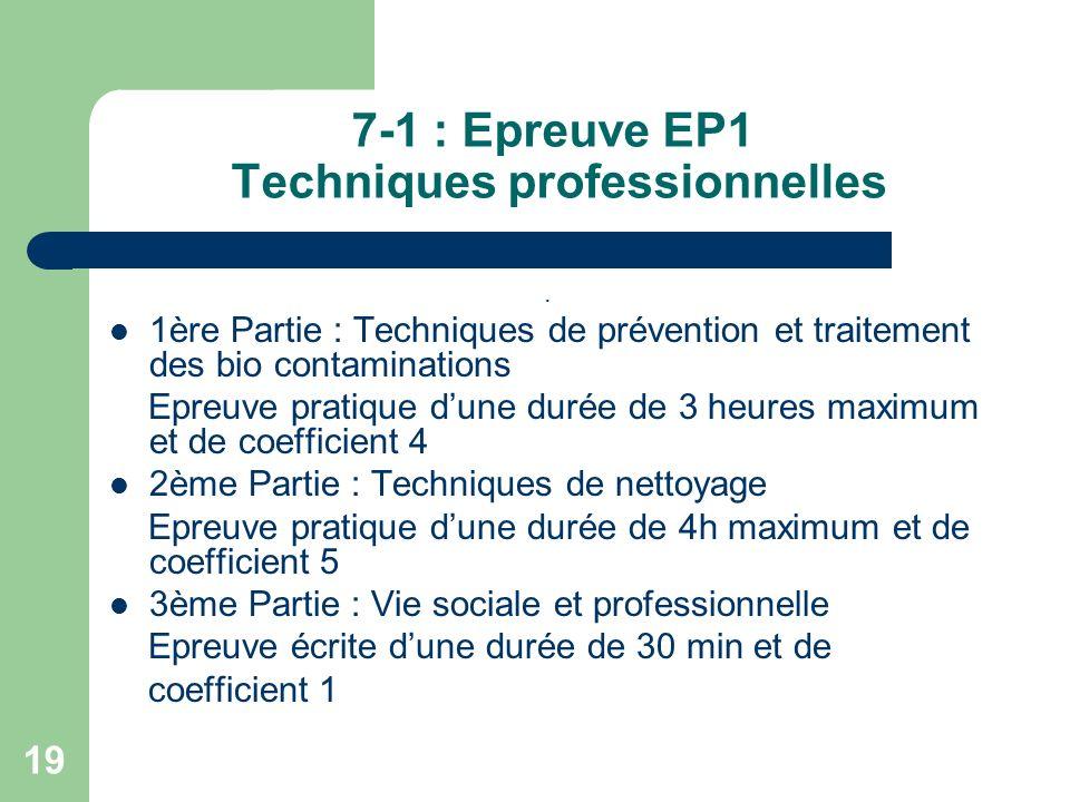 7-1 : Epreuve EP1 Techniques professionnelles