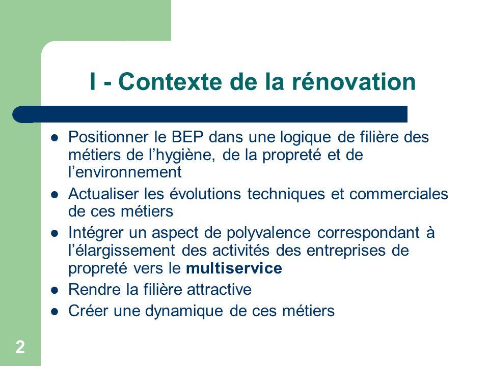 I - Contexte de la rénovation