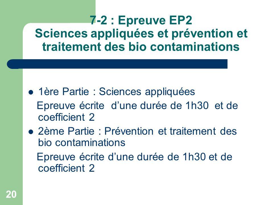 7-2 : Epreuve EP2 Sciences appliquées et prévention et traitement des bio contaminations