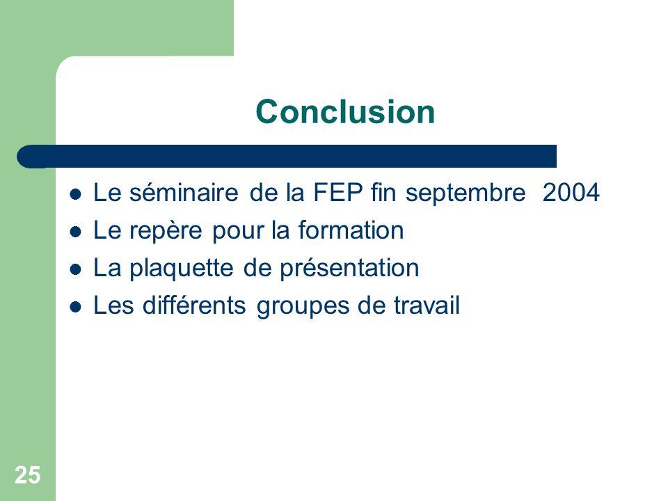 Conclusion Le séminaire de la FEP fin septembre 2004