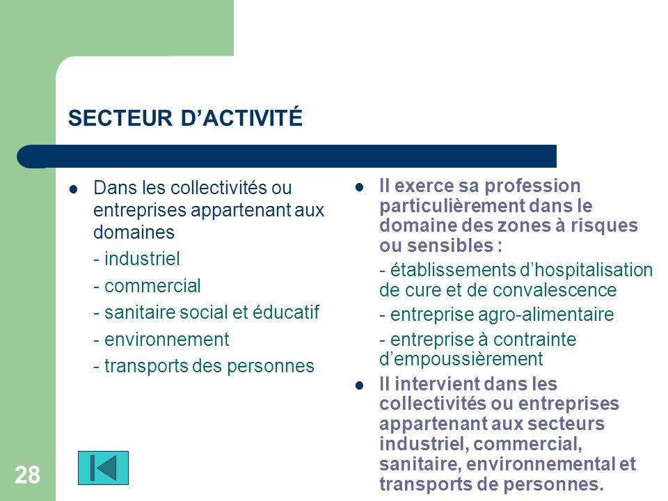 SECTEUR D'ACTIVITÉ Dans les collectivités ou entreprises appartenant aux domaines - industriel. - commercial.