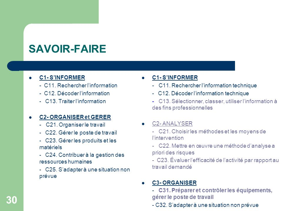 SAVOIR-FAIRE C1- S'INFORMER - C11. Rechercher l'information