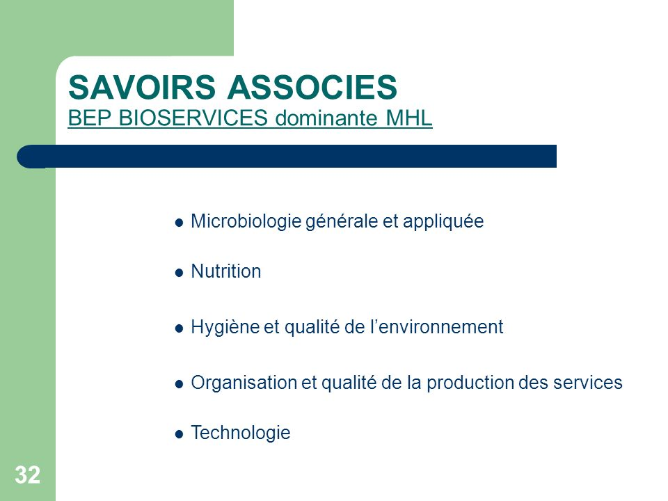 SAVOIRS ASSOCIES BEP BIOSERVICES dominante MHL