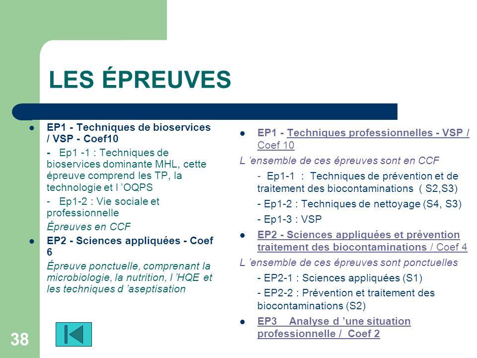 LES ÉPREUVES EP1 - Techniques de bioservices / VSP - Coef10