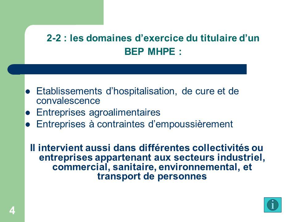 2-2 : les domaines d'exercice du titulaire d'un BEP MHPE :