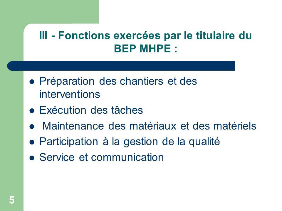 III - Fonctions exercées par le titulaire du BEP MHPE :