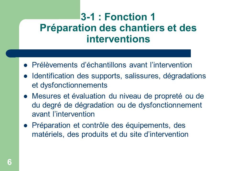 3-1 : Fonction 1 Préparation des chantiers et des interventions