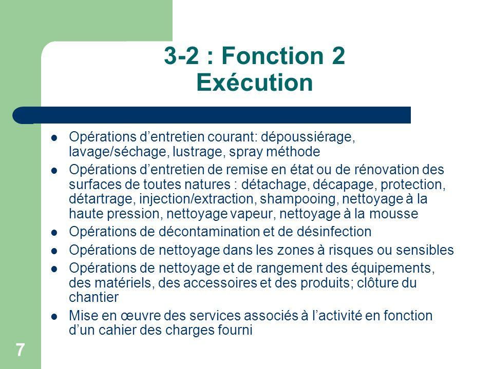 3-2 : Fonction 2 Exécution Opérations d'entretien courant: dépoussiérage, lavage/séchage, lustrage, spray méthode.