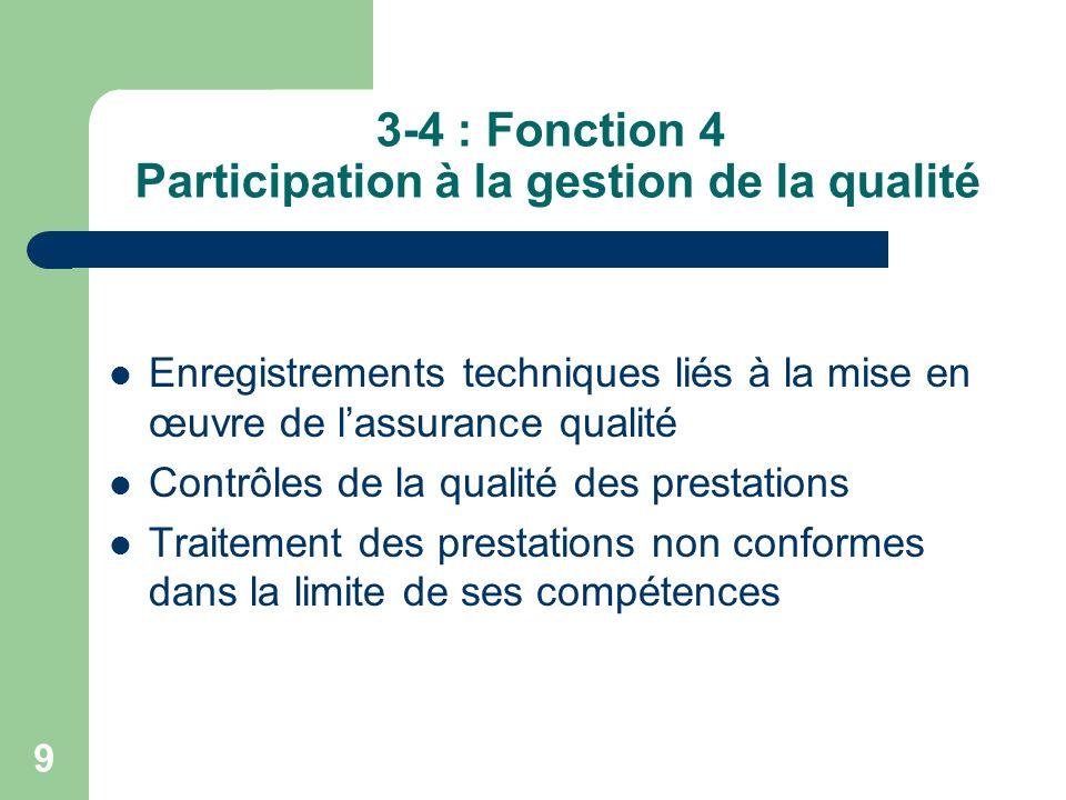 3-4 : Fonction 4 Participation à la gestion de la qualité