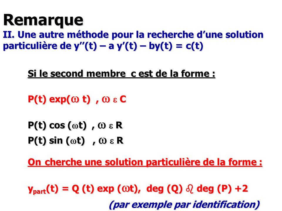 Remarque II. Une autre méthode pour la recherche d'une solution particulière de y''(t) – a y'(t) – by(t) = c(t)
