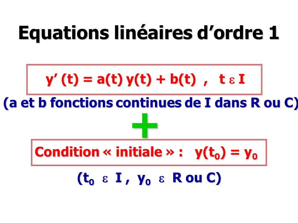 Equations linéaires d'ordre 1