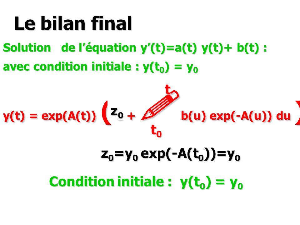 Le bilan final t z0 t0 z0=y0 exp(-A(t0))=y0