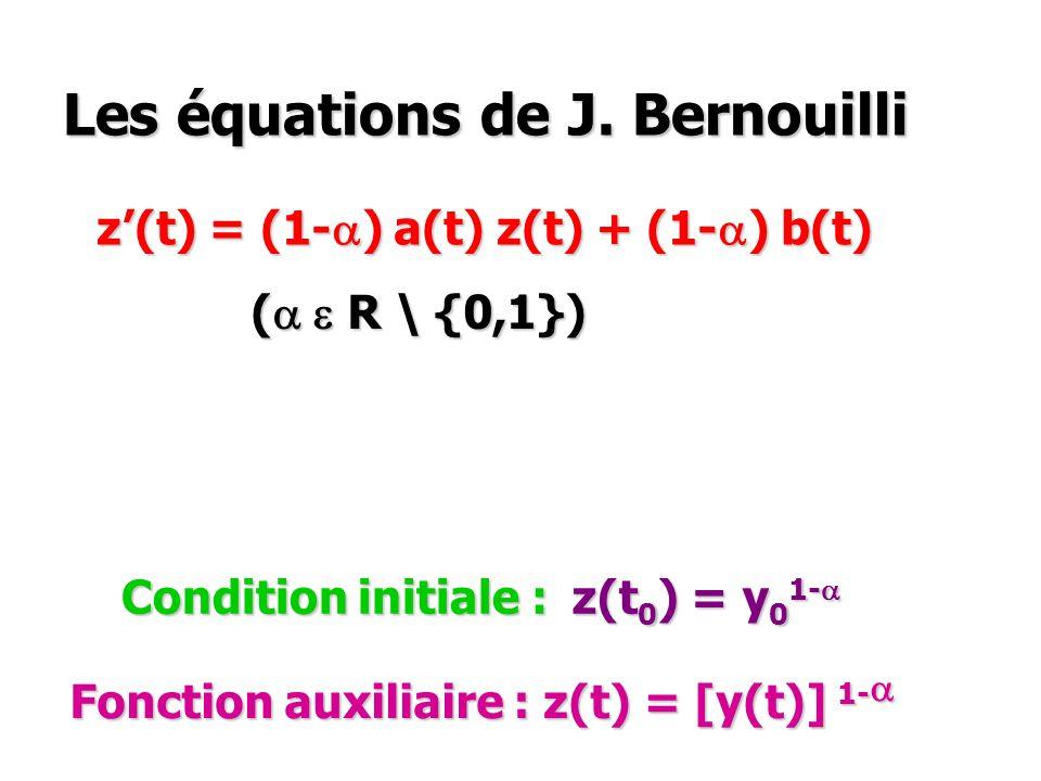 Les équations de J. Bernouilli