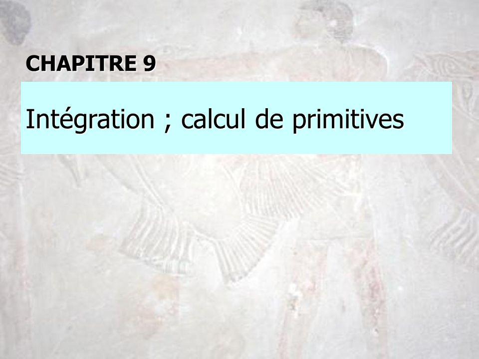 Intégration ; calcul de primitives