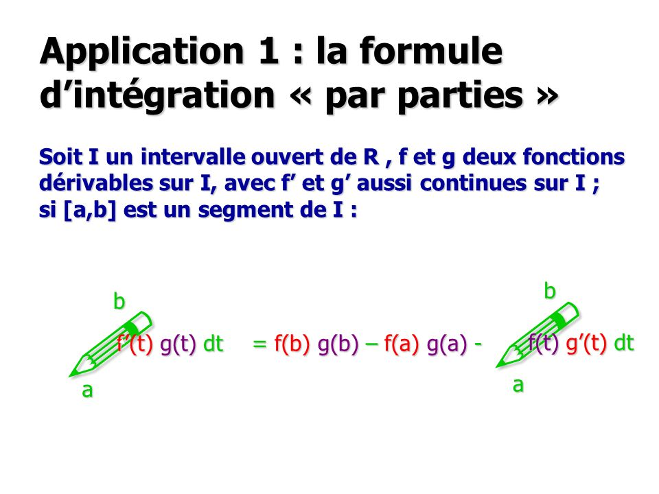 Application 1 : la formule d'intégration « par parties »