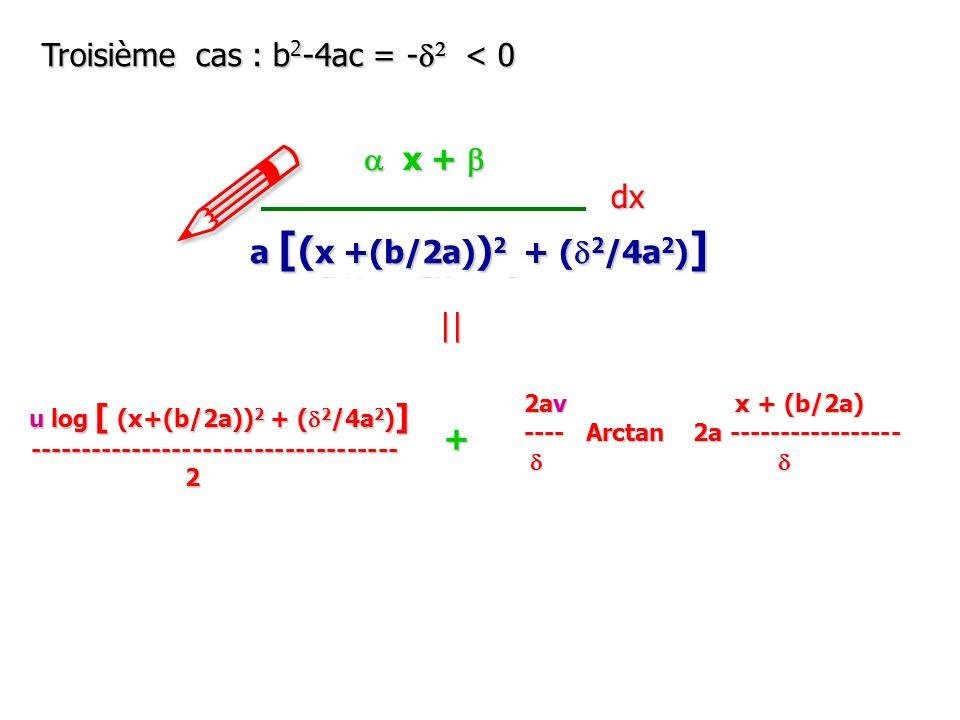 ! Troisième cas : b2-4ac = -d2 < 0 a x + b dx