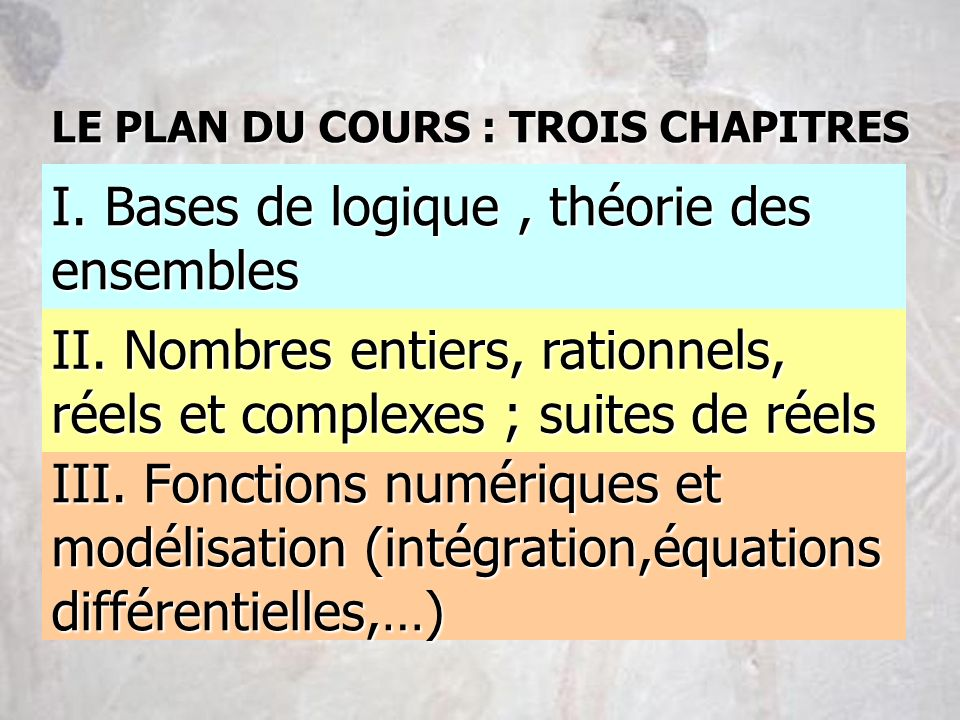 I. Bases de logique , théorie des ensembles