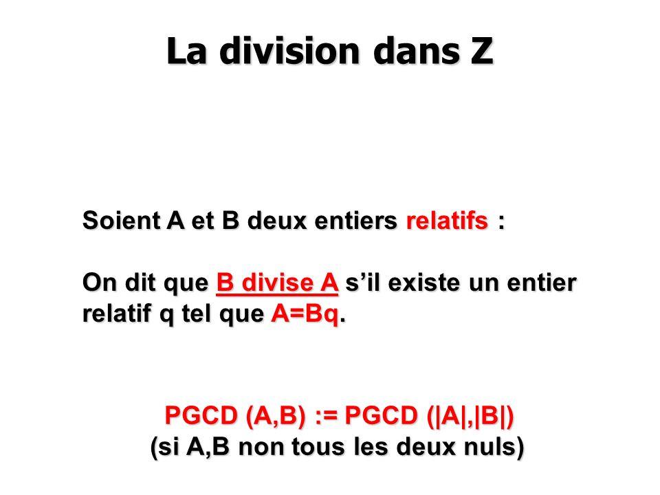 La division dans Z Soient A et B deux entiers relatifs :