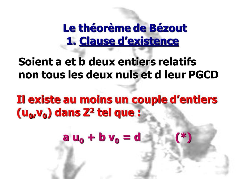 Le théorème de Bézout 1. Clause d'existence. Soient a et b deux entiers relatifs. non tous les deux nuls et d leur PGCD.