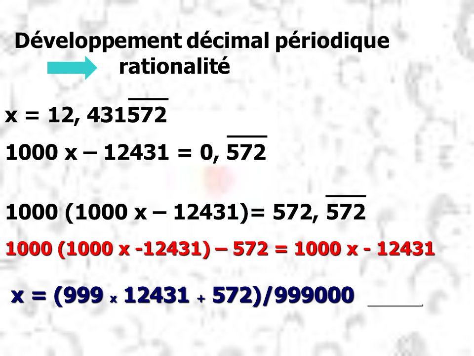 Développement décimal périodique rationalité