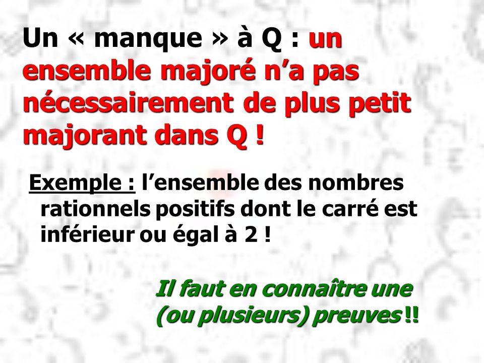 Un « manque » à Q : un ensemble majoré n'a pas nécessairement de plus petit majorant dans Q !