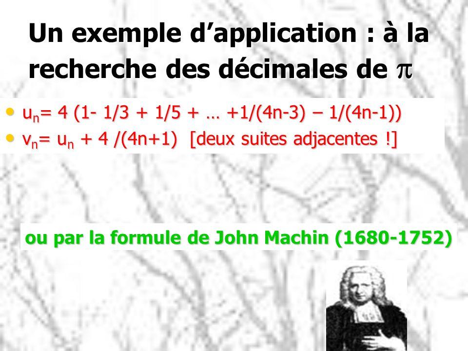 Un exemple d'application : à la recherche des décimales de p