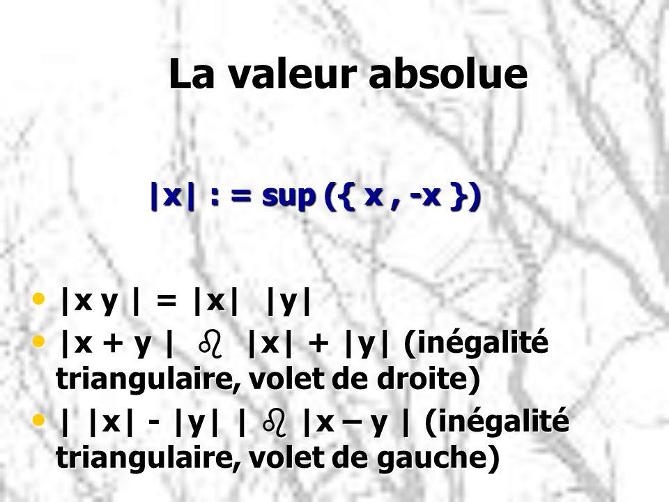 La valeur absolue |x| : = sup ({ x , -x }) |x y | = |x| |y|