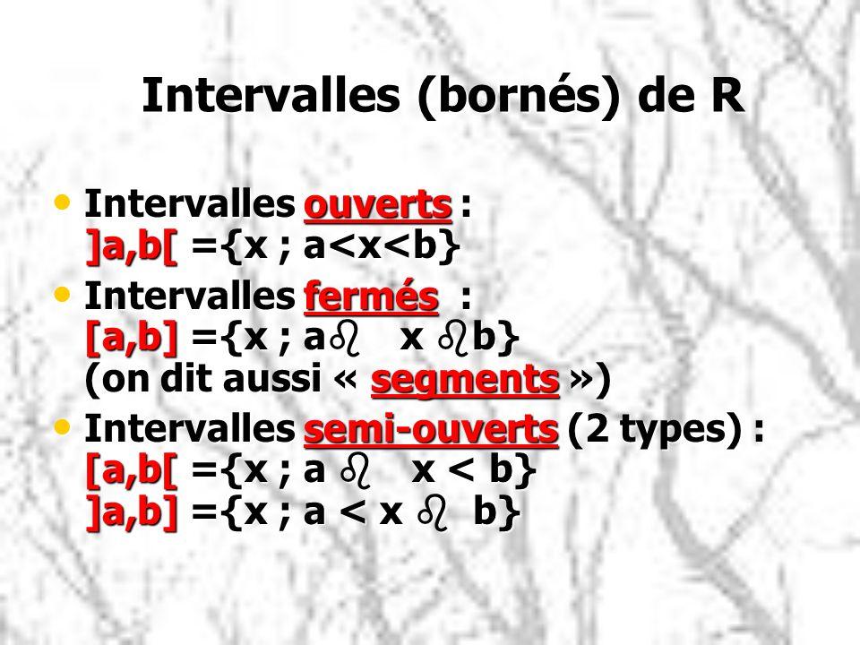 Intervalles (bornés) de R