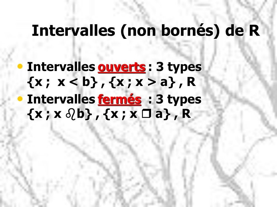 Intervalles (non bornés) de R