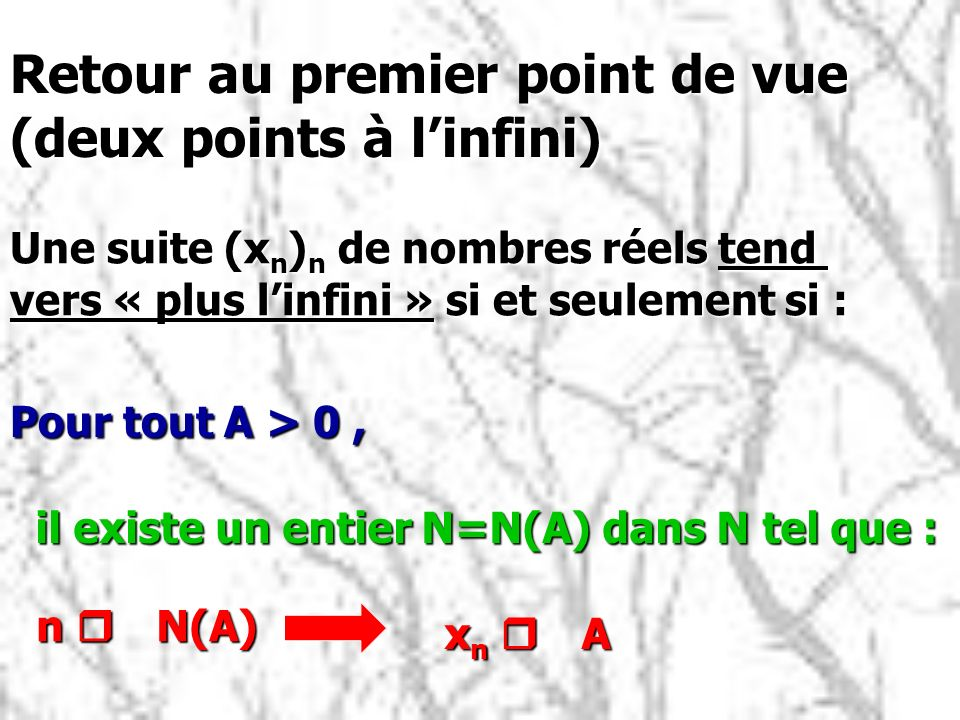 Retour au premier point de vue (deux points à l'infini)