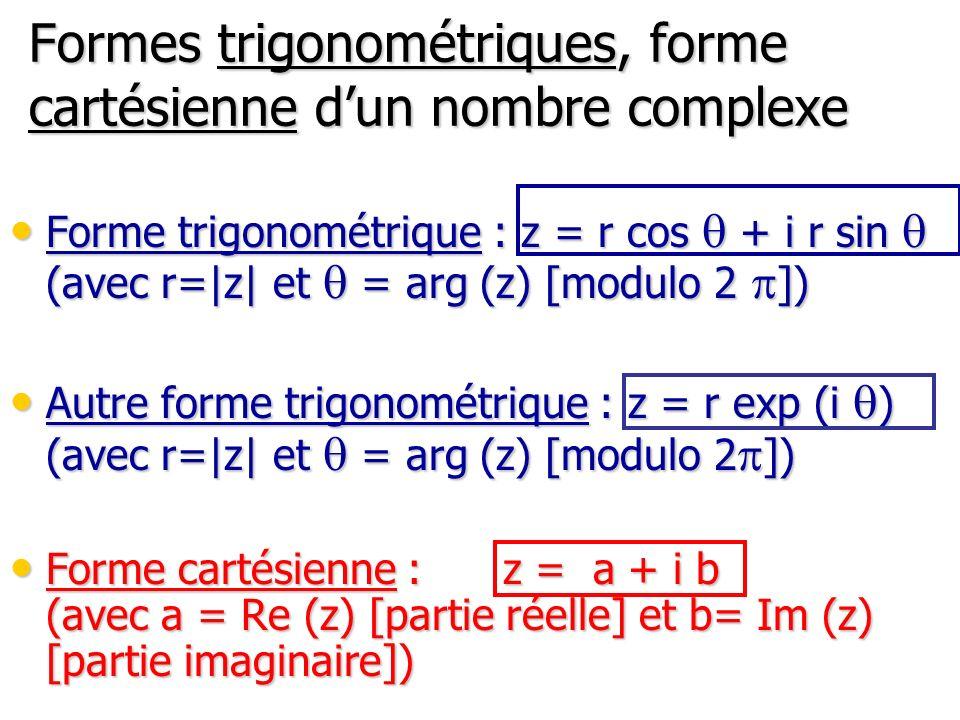 Formes trigonométriques, forme cartésienne d'un nombre complexe