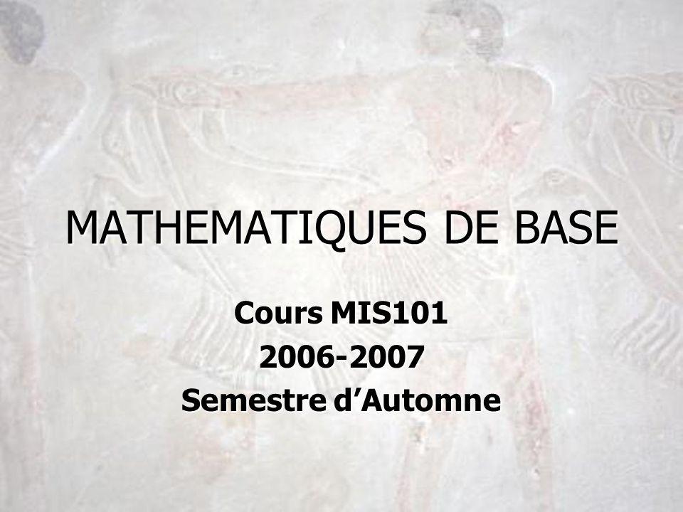 Cours MIS101 2006-2007 Semestre d'Automne