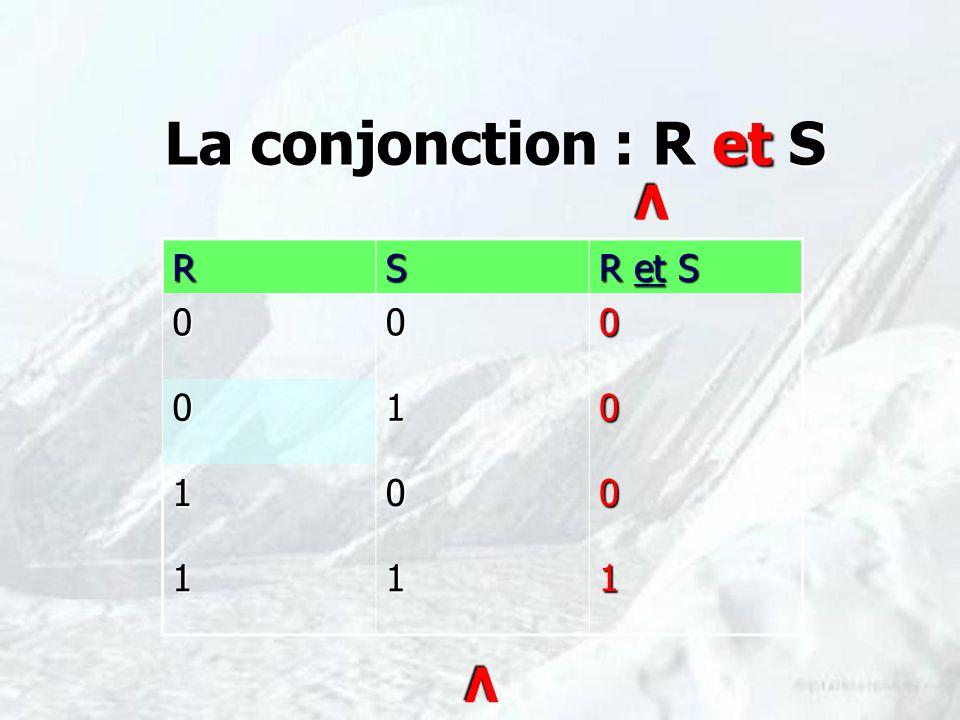 La conjonction : R et S V R S R et S 1 V