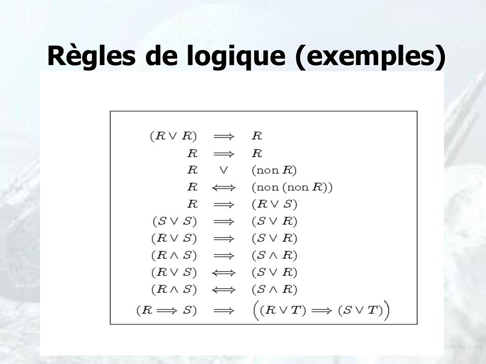 Règles de logique (exemples)
