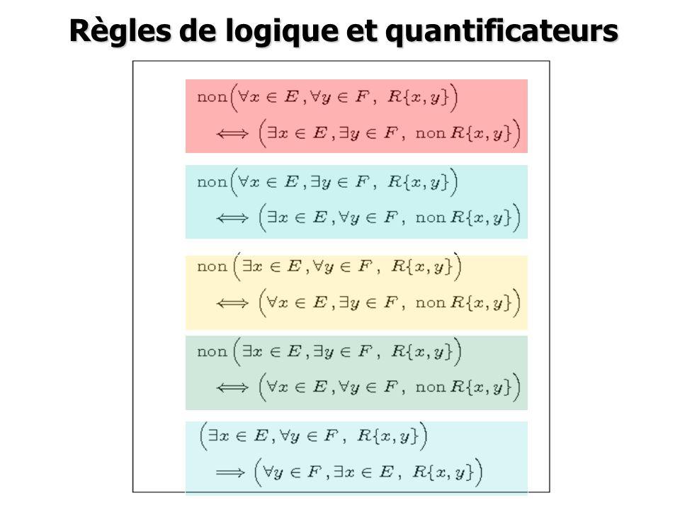 Règles de logique et quantificateurs