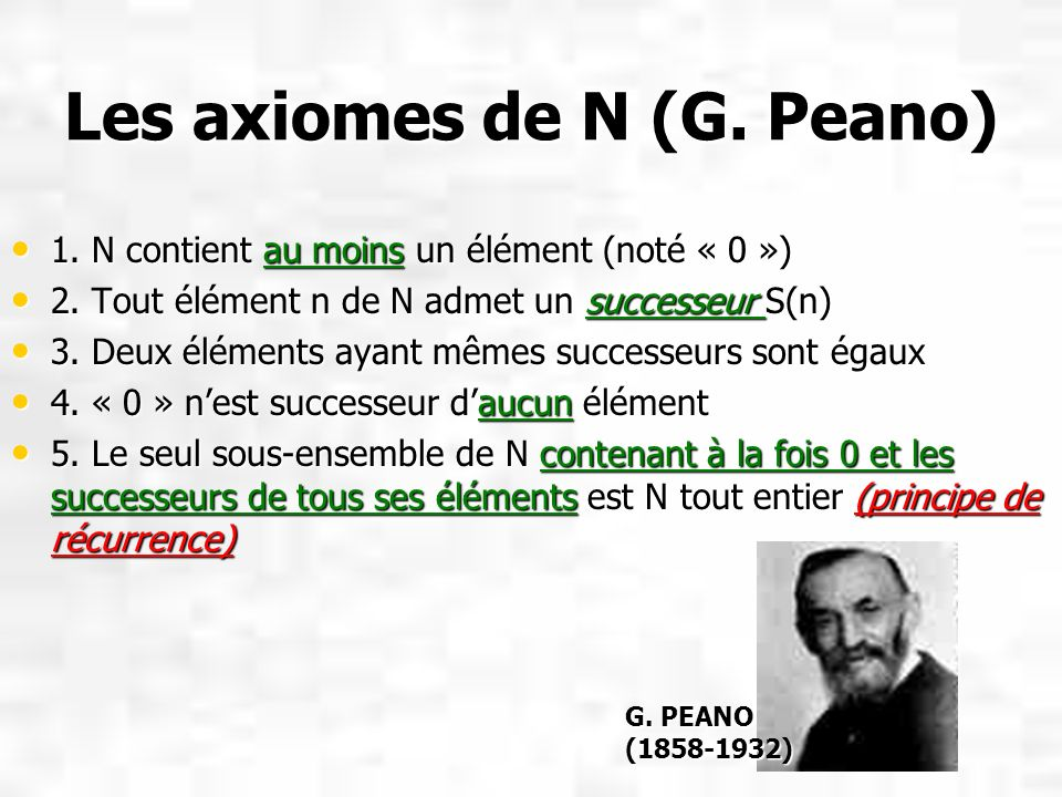 Les axiomes de N (G. Peano)