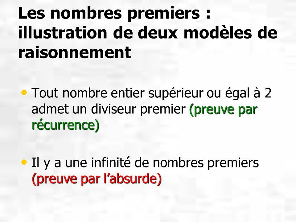 Les nombres premiers : illustration de deux modèles de raisonnement
