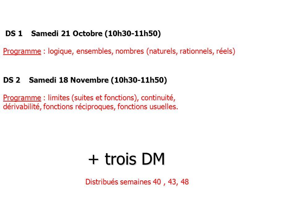 DS 1 Samedi 21 Octobre (10h30-11h50)