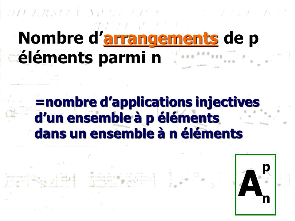 Nombre d'arrangements de p éléments parmi n