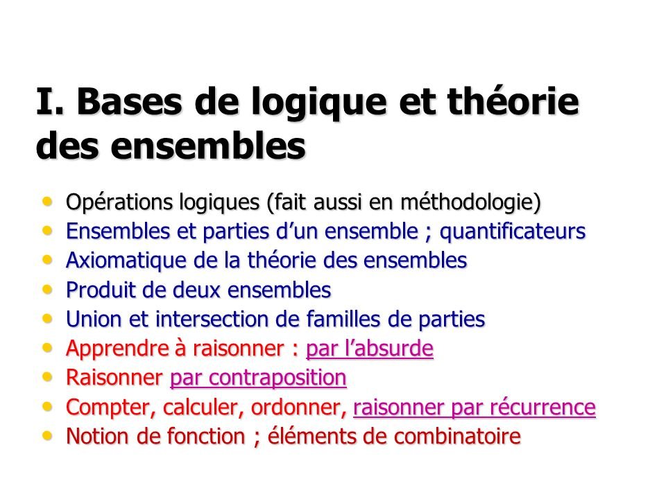 I. Bases de logique et théorie des ensembles