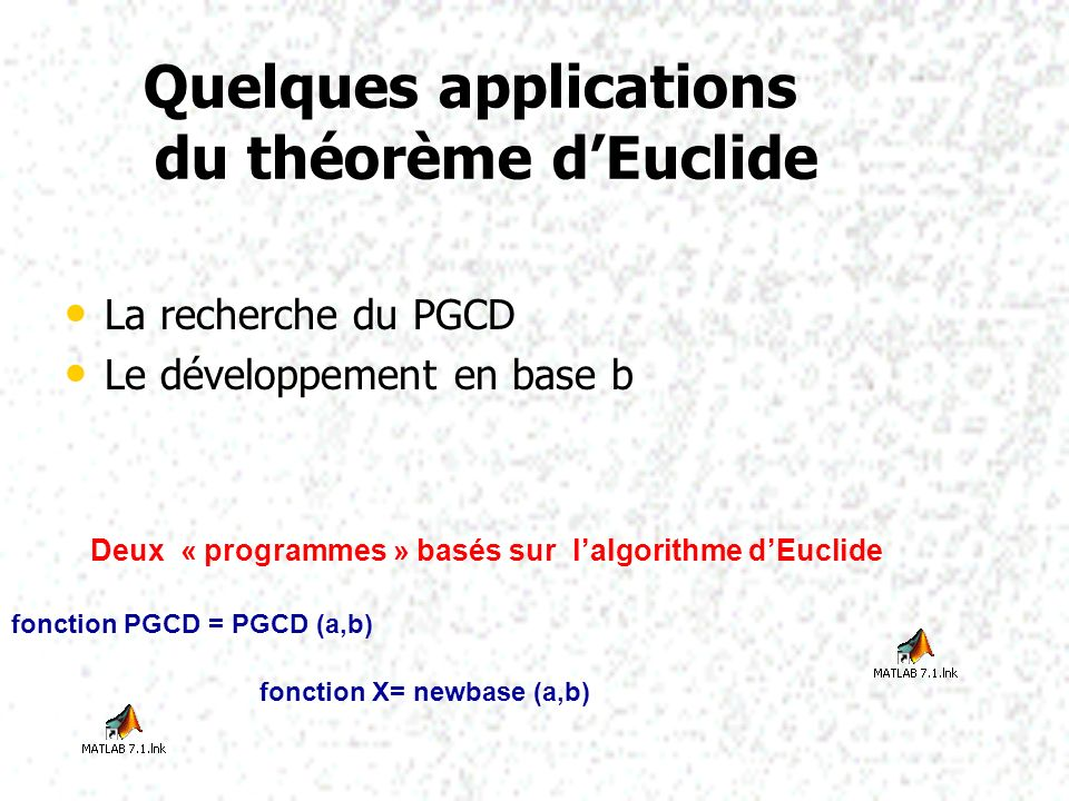 Quelques applications du théorème d'Euclide
