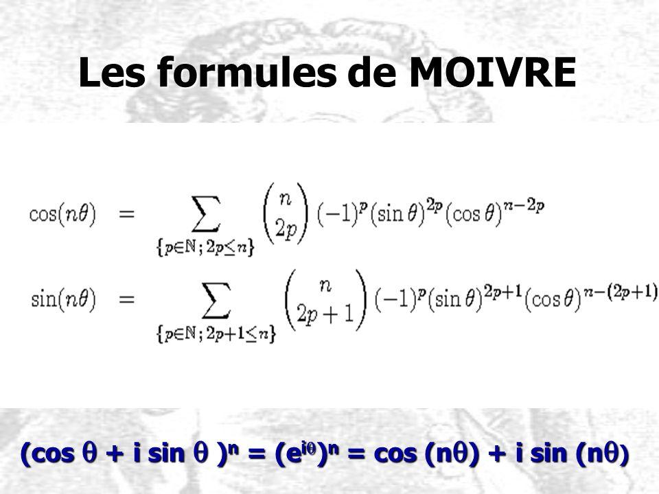 Les formules de MOIVRE (cos q + i sin q )n = (eiq)n = cos (nq) + i sin (nq)