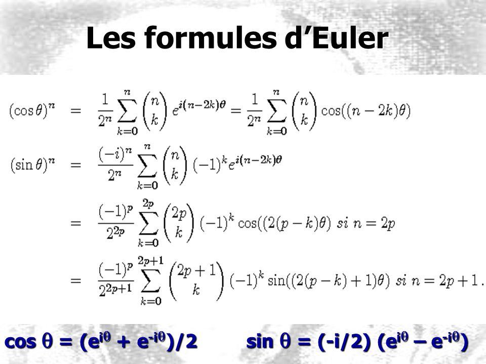 Les formules d'Euler cos q = (eiq + e-iq)/2 sin q = (-i/2) (eiq – e-iq)