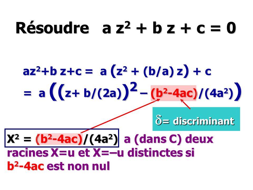 Résoudre a z2 + b z + c = 0 d= discriminant